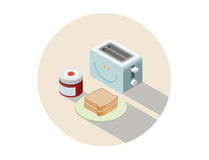 Vector isometric illustration of toaster and breakfast with toasts and jam. Royalty Free Stock Images