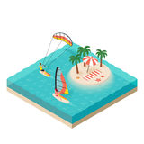 Vector isometric illustration of windsurfer and kite surfer. Royalty Free Stock Photo