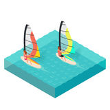 Vector isometric illustration of windsurfers. Man and woman Royalty Free Stock Photography