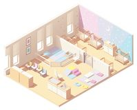 Isometric infant daycare classroom. Vector isometric Kindergarten Preschool infant and toddler daycare classroom cross-section. Sleeping area with cribs, block stock illustration