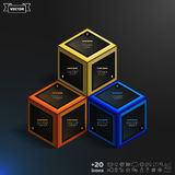 Vector isometric infographic with colorful cubes. Royalty Free Stock Image