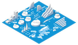 Vector isometric infographic elements. Set of the white charts, pie charts and other infographic design elements on the isometric blueprint Stock Photography