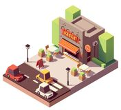 Vector isometric kebab shop Royalty Free Stock Image