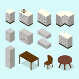 Vector isometric kitchen furniture set Royalty Free Stock Images