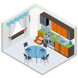 Vector isometric kitchen interior Royalty Free Stock Image