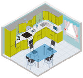 Vector isometric kitchen interior Stock Images