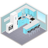 Vector isometric kitchen interior Stock Photos