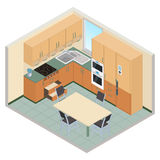 Vector isometric kitchen interior - 3D illustration Royalty Free Stock Image