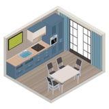 Vector isometric kitchen interior Stock Image