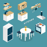 Vector isometric kitchen interior objects Royalty Free Stock Image