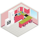 Vector isometric kitchen interior Royalty Free Stock Photography
