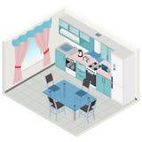 Vector isometric kitchen interior Stock Photography