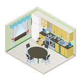 Vector isometric kitchen interior Stock Photography