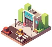 Vector isometric laundromat. Building with signboard and bicycle parking royalty free illustration