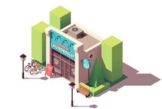 Vector isometric laundromat. Building with signboard and bicycle parking vector illustration