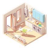 Vector isometric laundry room royalty free stock photos