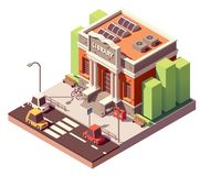 Vector isometric library building. Vector isometric old public library brick building with columns and bicycle parking royalty free illustration