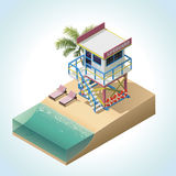 Vector isometric lifeguard tower stock illustration