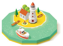 Vector Isometric Lighthouse Royalty Free Stock Photo