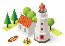 Vector isometric lighthouse Stock Image