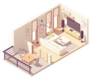 Vector isometric living room with balcony royalty free stock photo