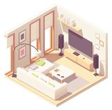 Vector isometric living room royalty free stock image