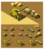 Vector isometric low poly agricultural machinery. Vector isometric low poly tractor and combine harvester working in field Stock Photo