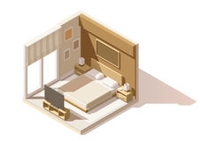 Vector isometric low poly bedroom icon Royalty Free Stock Image