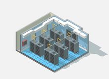 Vector isometric low poly bit coin cryptocurrency mining block chain data center cutaway icon. Computer Administration room includes server and cables Stock Images