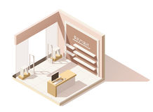 Vector isometric low poly boutique cutaway icon. Vector isometric low poly boutique shop cutaway icon. Includes shop furniture and anti-theft gates Royalty Free Stock Photo