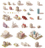 Vector isometric low poly buildings set Stock Photo