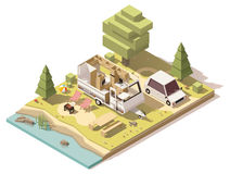Vector isometric low poly camper in campsite. Vector isometric low poly caravan trailer in the campsite vector illustration