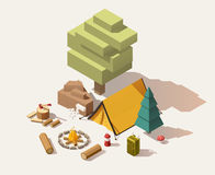 Vector isometric low poly campsite. Equipment Royalty Free Stock Photos