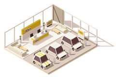 Vector isometric low poly car dealership showroom. Includes cars on the display, customers area and other dealership infrastructure Stock Photography