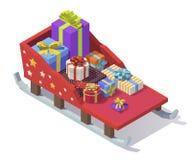 Vector isometric Christmas sleigh Stock Image
