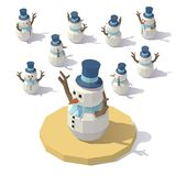 Low poly Christmas snowman Stock Photo