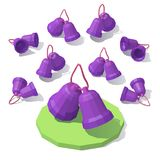 Lowpoly Christmas toy bells. Vector isometric low poly Christmas toy bells Royalty Free Stock Photography