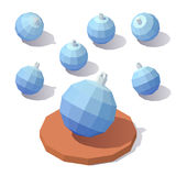 Christmas toy blue ball. Vector isometric low poly Christmas toy blue ball Royalty Free Stock Photography