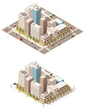 Vector isometric low poly city downtown. Isometric low poly city streets with different skyscrapers buildings Stock Image