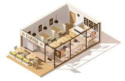 Vector isometric low poly coffee shop. Interior Royalty Free Stock Images