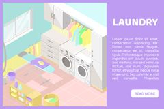 Vector isometric low poly cutaway interior illustartion. Utility and laundry room stock illustration