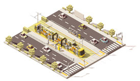 Vector isometric low poly dedicated tram lane Royalty Free Stock Photography
