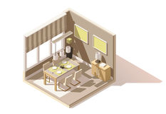 Vector isometric low poly dining room icon Royalty Free Stock Photography