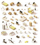 Vector isometric low poly domestic furniture set Royalty Free Stock Images