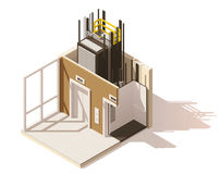 Vector isometric low poly elevator cutaway icon. Includes building hallway interior and elevator cross-section Royalty Free Stock Images