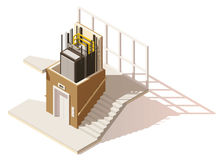 Vector isometric low poly elevator cutaway icon. Includes building hallway interior and elevator cross-section Royalty Free Stock Photography