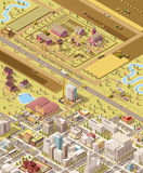 Vector isometric low poly farm and city Royalty Free Stock Image