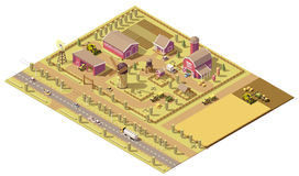Vector isometric low poly farm. Elements. Farm buildings, agricultural equipment and vehicles working in field Royalty Free Stock Photography