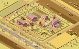 Vector isometric low poly farm. Elements. Farm buildings, agricultural equipment and vehicles working in field Stock Photos