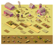 Vector isometric low poly farm elements. Farm buildings, vehicles included, fields with plants and fence Royalty Free Stock Image